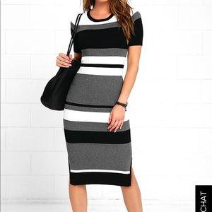 Lulus Olive & Oak Midi Knit Striped Dress